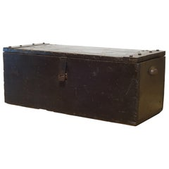 Early 20th Century Handmade Wood and Steel Primitive Chest, circa 1930-1940