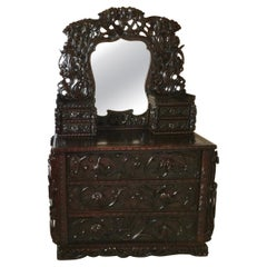 Early 20th C. Heavily Carved Japanese Chest of Drawers with Mirror