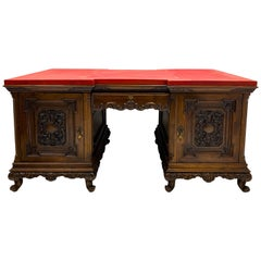 Early 20th Century Italian Carved Walnut Leather Top Desk