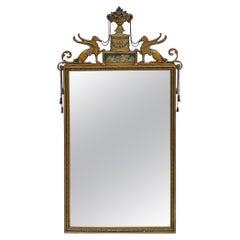 Early 20th-C Italian Neo-Classical Style Mirror with Carved Griffins