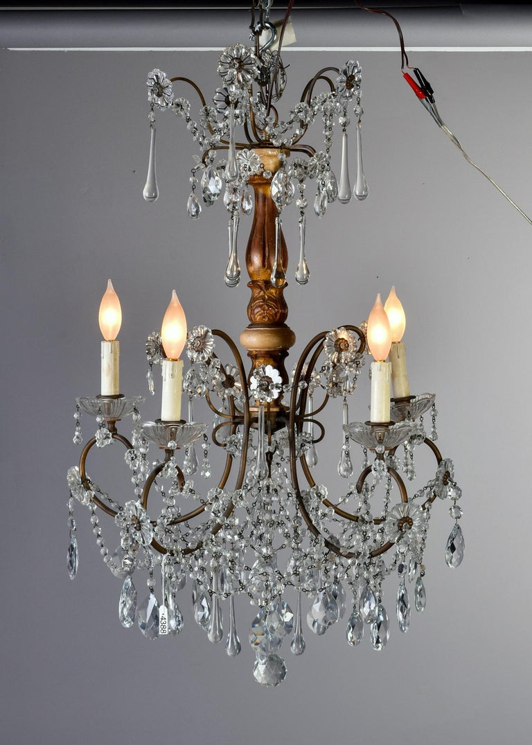 Early 20th Century Italian Five Light Crystal and Giltwood Chandelier In Good Condition For Sale In Troy, MI