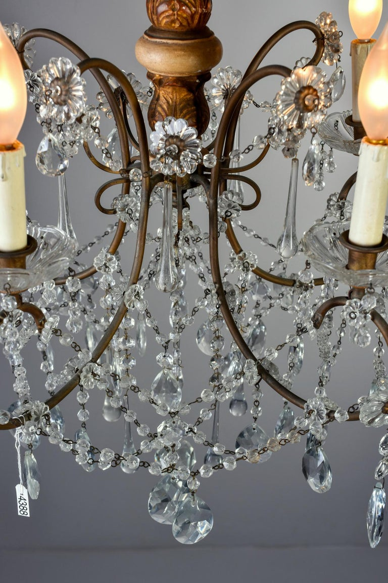 Early 20th Century Italian Five Light Crystal and Giltwood Chandelier For Sale 3