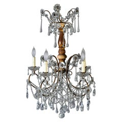 Early 20th Century Italian Six Light Crystal and Giltwood Chandelier
