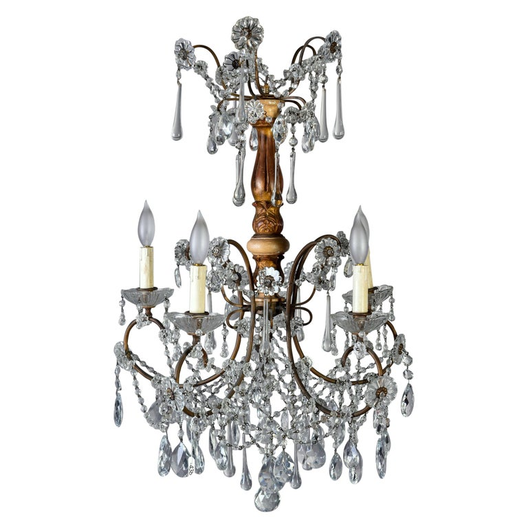 Early 20th Century Italian Five Light Crystal and Giltwood Chandelier For Sale