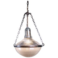 Early 20th C Extra Large Holophane Blondel Stiletto Pendants Lights 2 Available