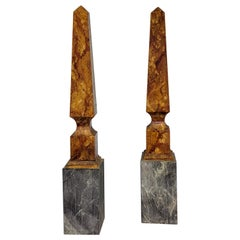 Early 20th-C Large Neoclassical Style Italian Wood and Marble Obelisks, a Pair