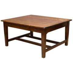 Early 20th C Large Tiger Oak Double Person Desk, C.1930-1940