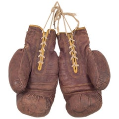 Early 20th Century Leather Boxing Gloves, circa 1940s