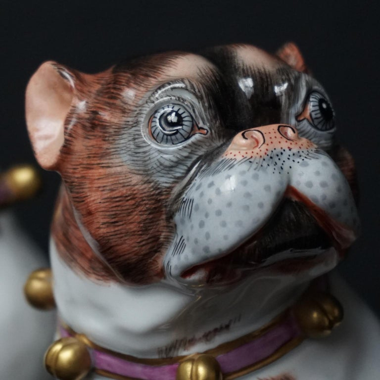 Male and Female Pair of Dresden Saxon Porcelain Pug Dog Figurines For Sale 5