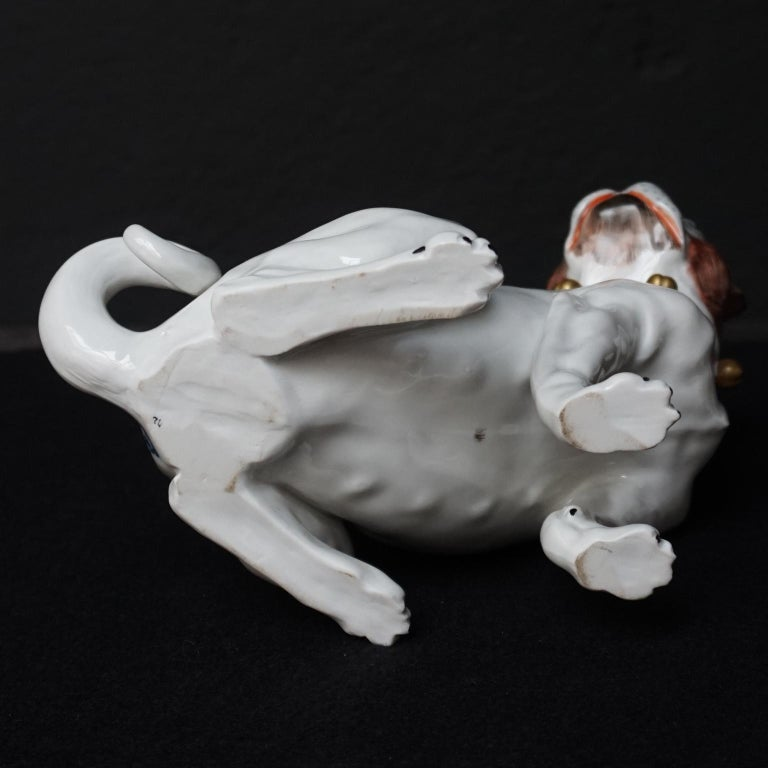 Male and Female Pair of Dresden Saxon Porcelain Pug Dog Figurines For Sale 7