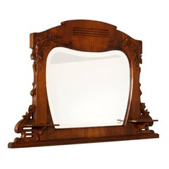 Early 20th Century Mirror Art Nouveau by Testolini & Salviati, Carved Walnut