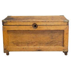 Early 20th C Oak Chest with Brass Corners, c.1940