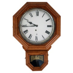 Early 20th Century Oak Regulator Wall Clock