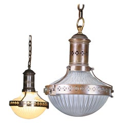 Pair of Prismatic Glass and Brass Asteroid Pendants Lights Lanterns