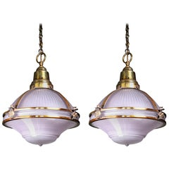 Rare Pair of Violet Tinted Holophane Gilt Copper Caged Pendants Lights