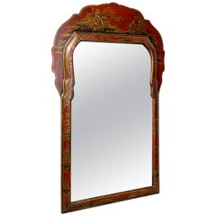 Early 20th Century Red Lacquered Chinoiserie Mirror