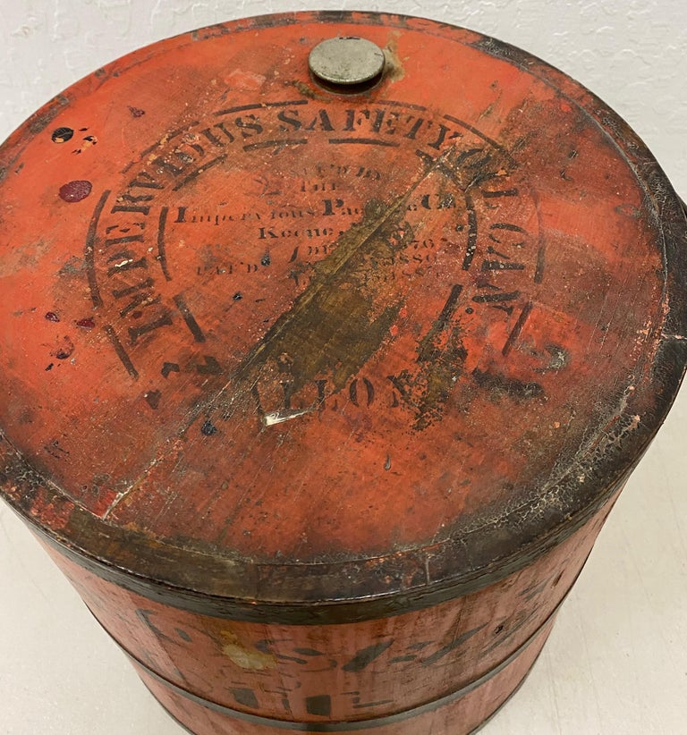 American Early 20th Century Red Stenciled Kerosene Oil Can for Side Table or Plant Stand For Sale