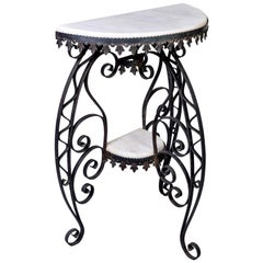 Early 20th Century Scrolled Iron and White Marble Demilune Console