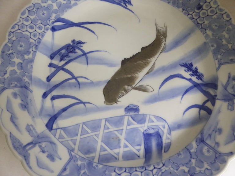 Japonisme Blue White Japanese Arita Ware Scalloped Charger with Koi Fish For Sale