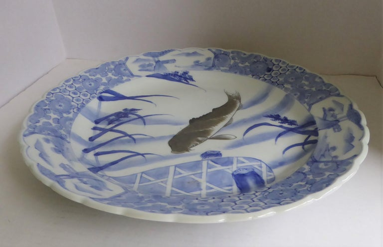 Painted Blue White Japanese Arita Ware Scalloped Charger with Koi Fish For Sale