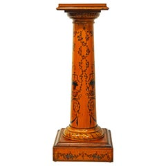 Early 20th Century Edwardian Satinwood Column Pedestal Painted in the Adam Style