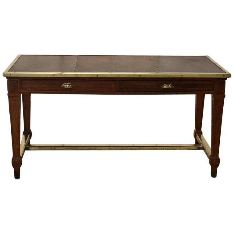 """Early 20th Century French """"Bank of France"""" Oak Desk For Sale"""