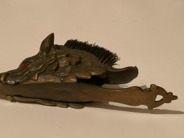 20th Century Early 20th Centruy Black Forest Hat Pegs Wild Boar Bronze, Austria For Sale