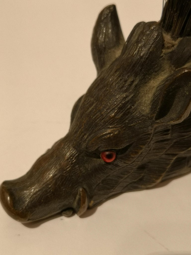 Early 20th Centruy Black Forest Hat Pegs Wild Boar Bronze, Austria For Sale 3