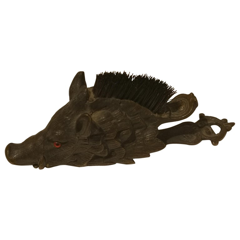 Early 20th Centruy Black Forest Hat Pegs Wild Boar Bronze, Austria For Sale