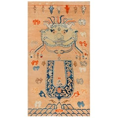 Early 20th Centurty Chinese Oriental Beige, Blue, Brown and Orange Handmade Rug