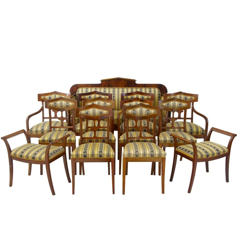 Early 20th Century 13 Piece Mahogany Salon Suite For Sale