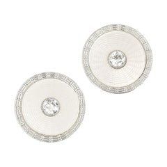 Early 20th Century 14 Karat Gold Mother of Pearl and Diamond Disc Earrings