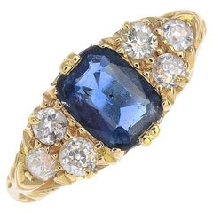 Early 20th Century 18 Carat Gold Sapphire and Diamond Ring