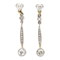 Early 20th Century 18 Karat White Gold Diamond Drop Earrings