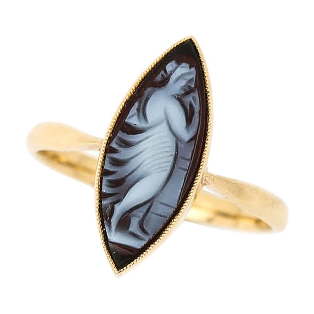 Early 20th Century 18 Karat Yellow Gold Marquise Shape Blue Agate Cameo Ring