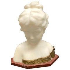 Early 20th Century Alabaster Girl Bust by Gino, Italy Vintage, 1900s