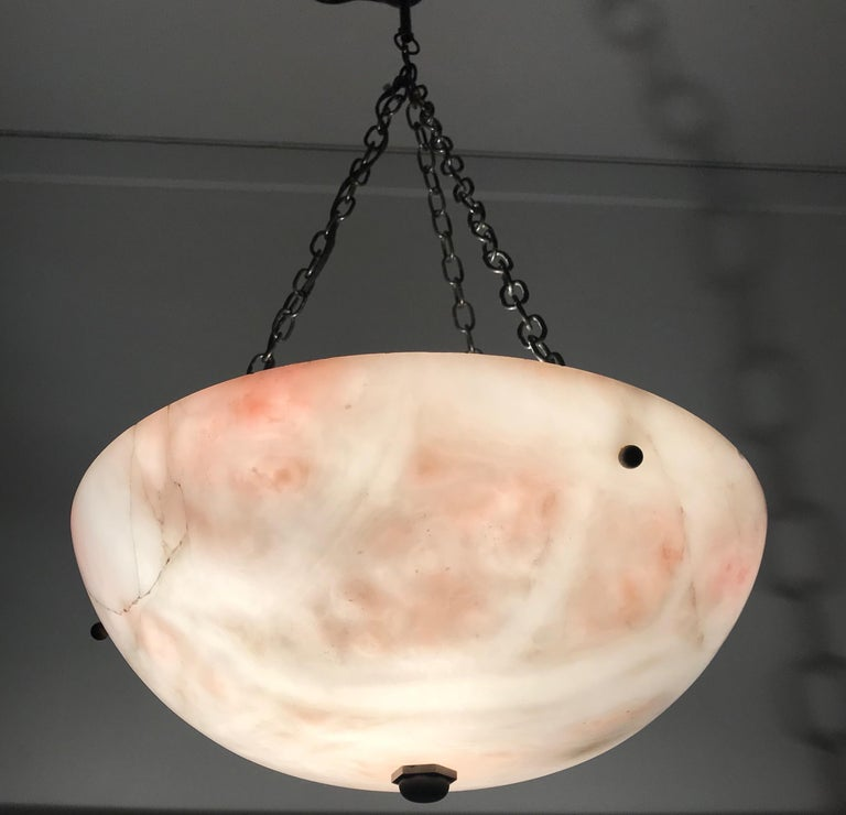Early 20th Century Alabaster ' Pink & White Moonlight ' Pendant or Ceiling Lamp For Sale 3