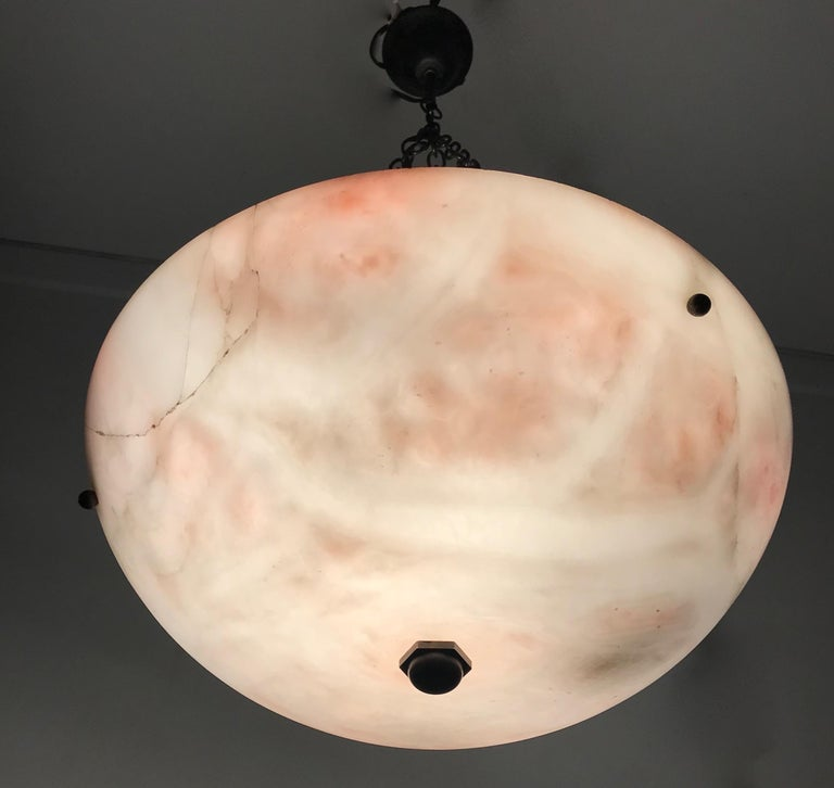 Early 20th Century Alabaster ' Pink & White Moonlight ' Pendant or Ceiling Lamp For Sale 4