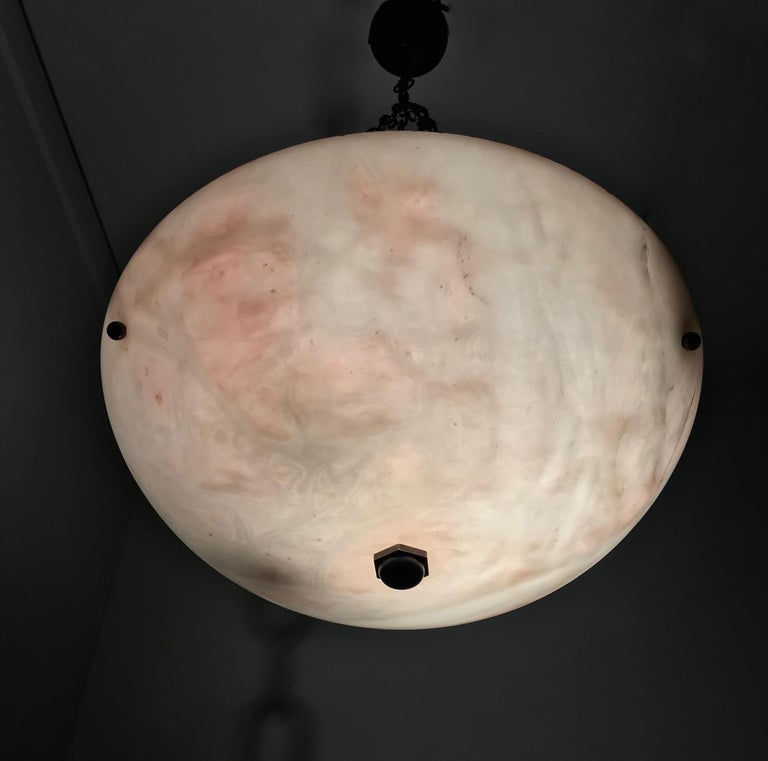 Early 20th Century Alabaster ' Pink & White Moonlight ' Pendant or Ceiling Lamp For Sale 7