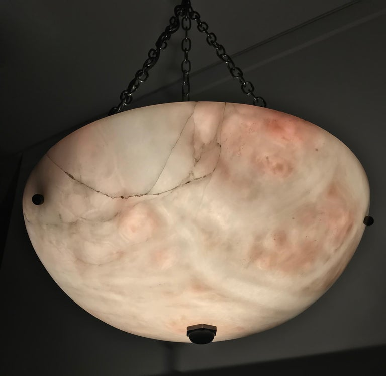 Early 20th Century Alabaster ' Pink & White Moonlight ' Pendant or Ceiling Lamp For Sale 8