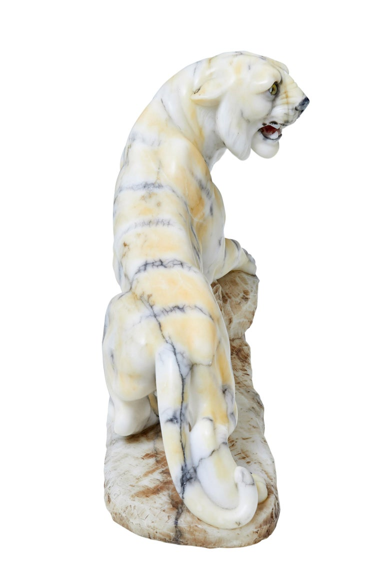 Art Deco Early 20th Century Alabaster Tiger Mantle Decoration For Sale