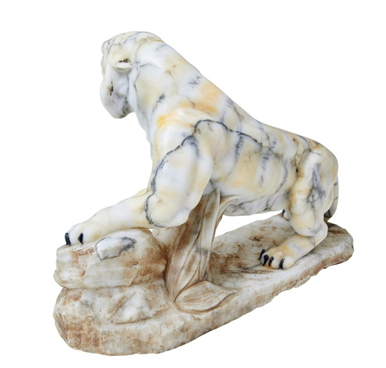 Early 20th Century Alabaster Tiger Mantle Decoration In Good Condition For Sale In Debenham, Suffolk