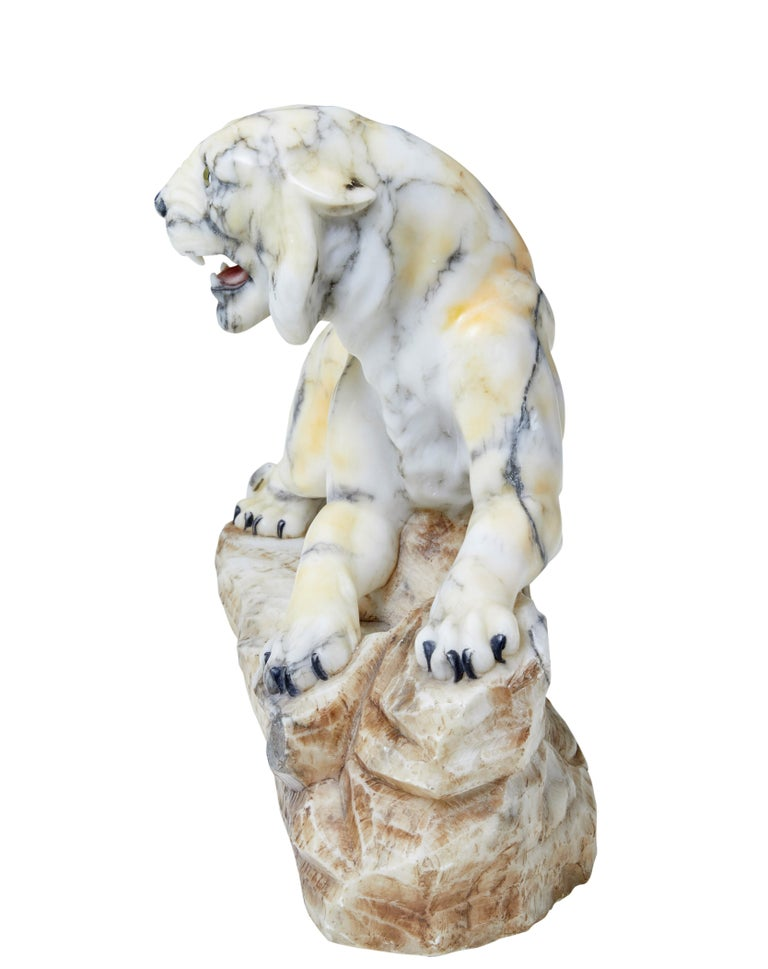 Early 20th Century Alabaster Tiger Mantle Decoration For Sale 1