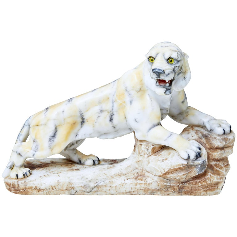 Early 20th Century Alabaster Tiger Mantle Decoration For Sale