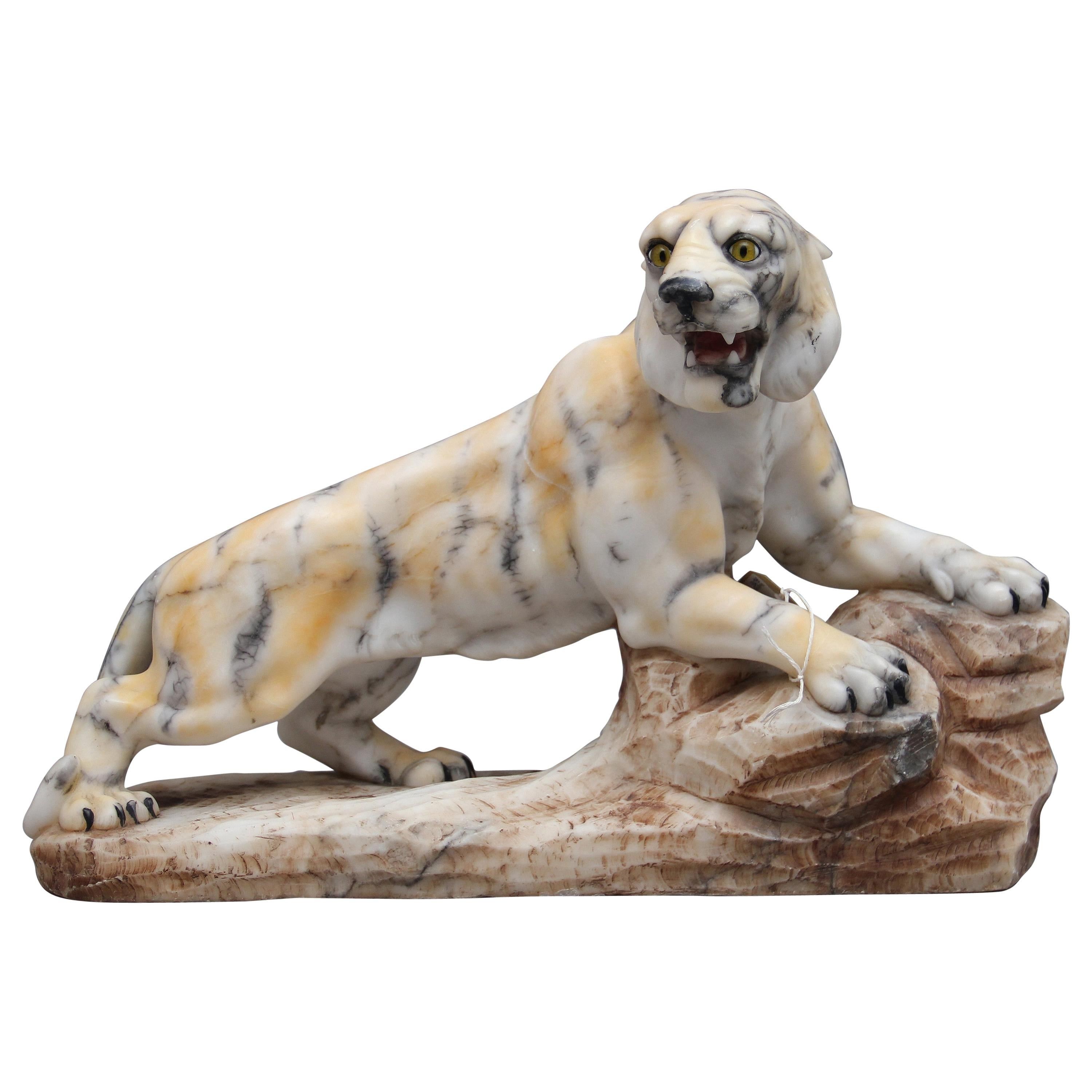 Early 20th Century Alabaster Tiger Sculpture