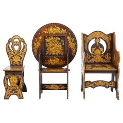 Early 20th Century American Arts & Crafts Collection of Poker Work Furniture