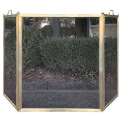 Early 20th Century American Brass and Mesh Three-Panel Fireplace Screen