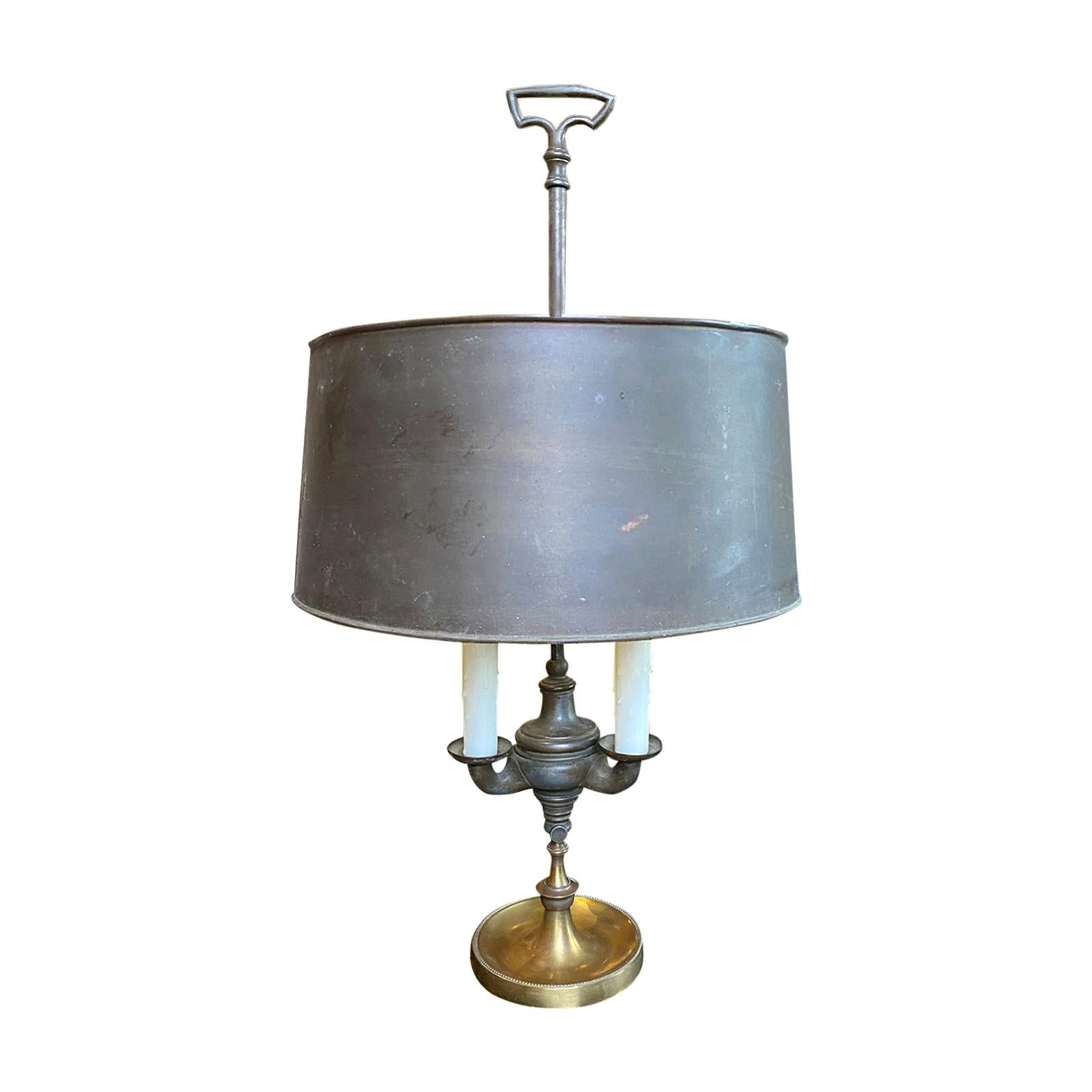 Early 20th Century American Bronze Bouillotte Lamp with Tole Shade