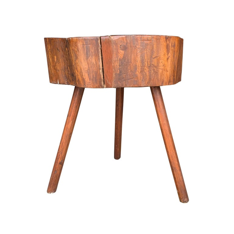 Wood Early 20th Century American Butcher Block Table For Sale