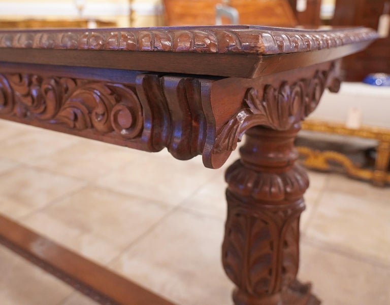 Early 20th Century American Carved Walnut Threstle Base Library or Center Table For Sale 8